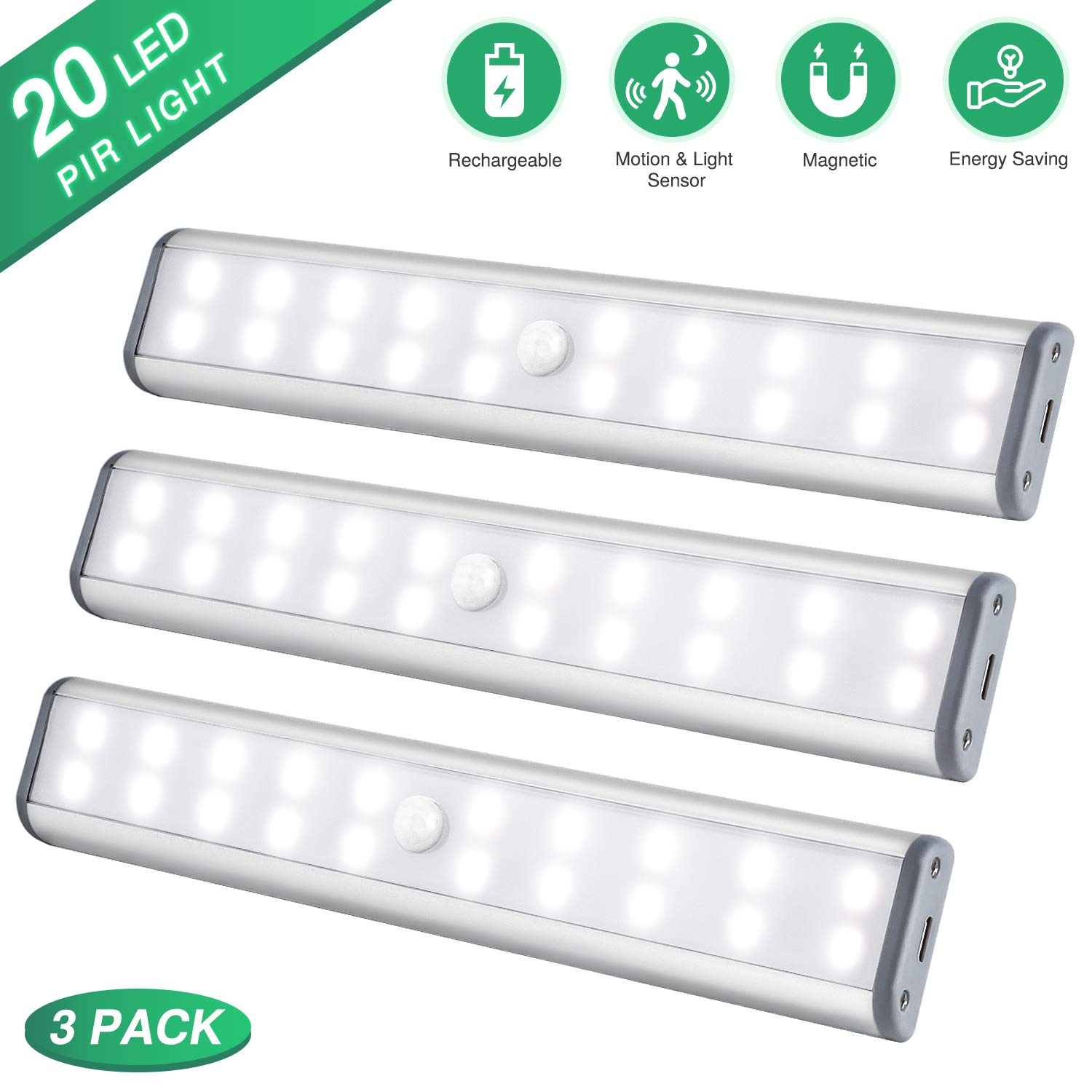 Under Cabinet Lighting Closet Light 20 LEDs 3 Packs, Wireless Rechargeable Cabinet Lights, Magnetic Under Counter Lighting, LED Motion Sensor Night Light for Closet Cabinet Wardrobe Stairs White