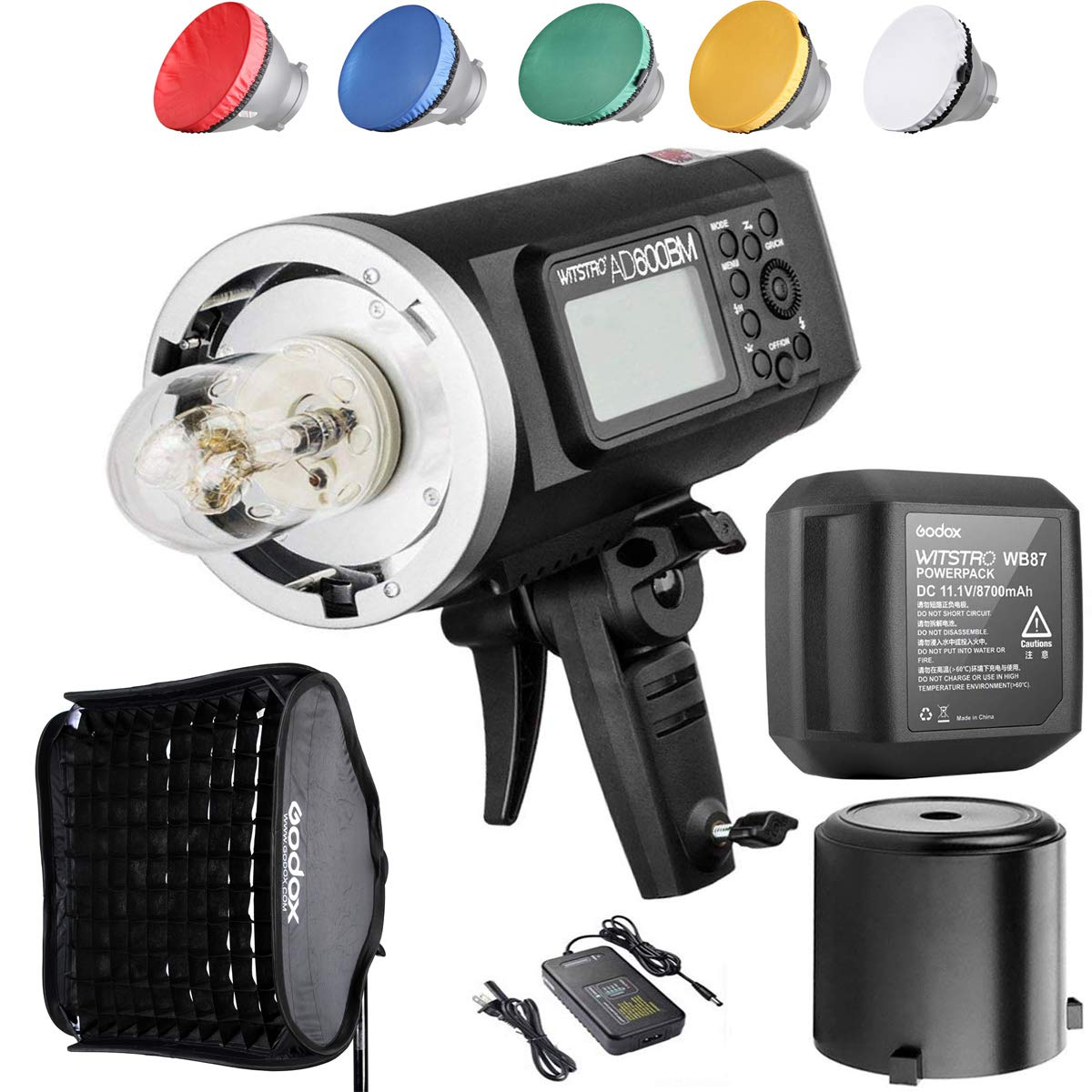 Godox AD600BM Bowens Mount 600Ws GN87 High Speed Sync Outdoor Flash Strobe Light with 80CMX80CM Softbox, 8700mAh Battery to Provide 500 Full Power Flashes and Recycle in 0.01-2.5 Second by Godox