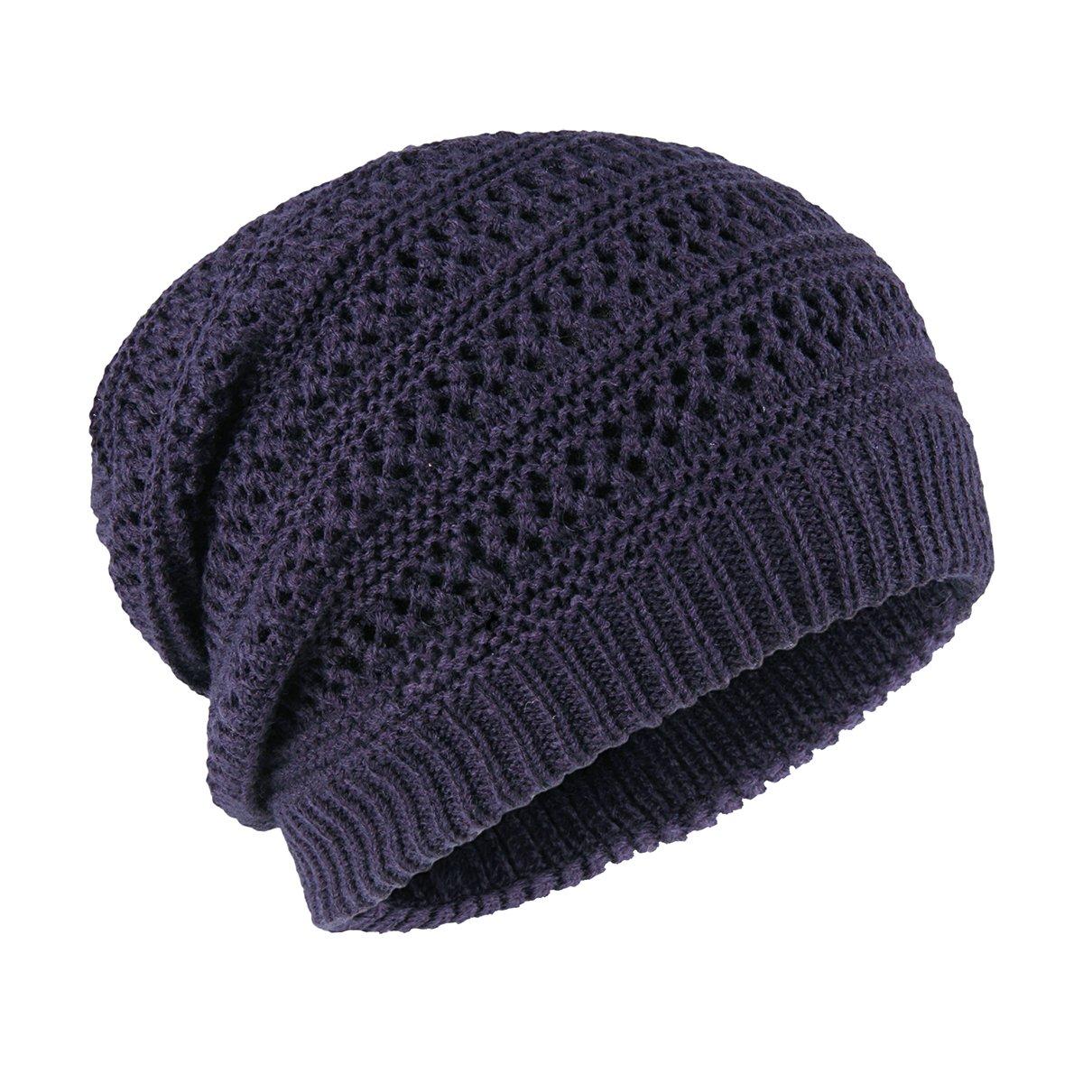 90324fea0085f0 ... OMECHY Unisex Slouchy Beanie Hats Winter Warm Knit Skull Fleece Ski Cap  4 Color Black ...