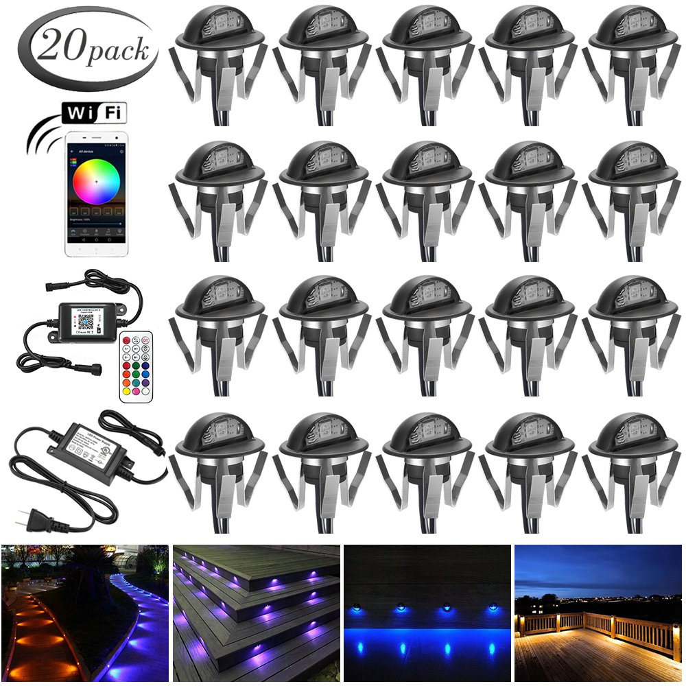 """WiFi Wireless Recessed LED Deck Lighting Kit, FVTLED Pack of 20 Smart Phone APP Controlled Φ1.38"""" Half Moon In Ground Outdoor Landscape LED RGB Lights Working with Android & iOS Alexa Echo, Black"""