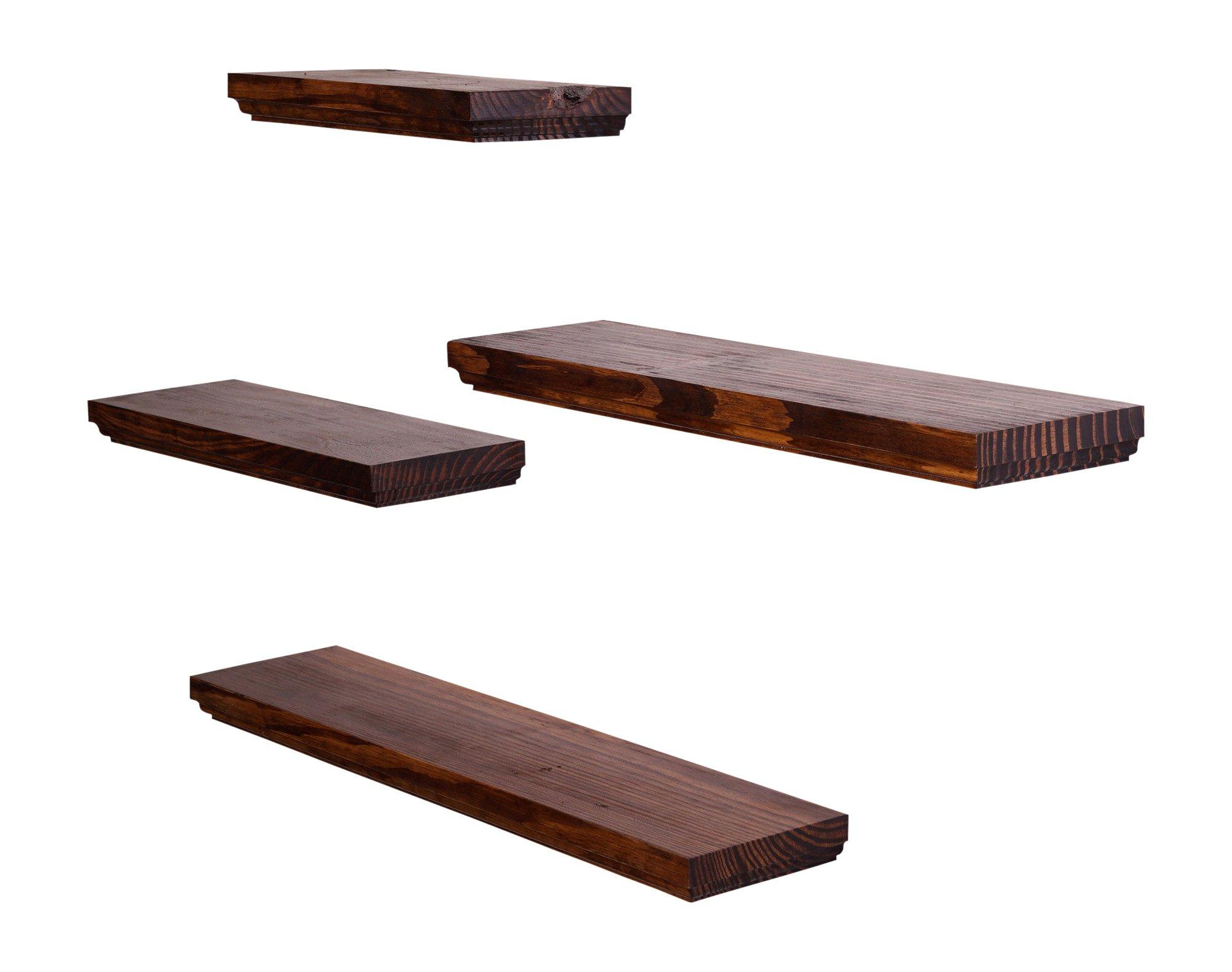 DAKODA LOVE Routed Edge Floating Shelves, USA Handmade, Clear Coat Finish, 100% Countersunk Hidden Floating Shelf Brackets, Beautiful Grain Pine Wood Wall Decor (Set of 4) (Bourbon) by DAKODA LOVE (Image #3)