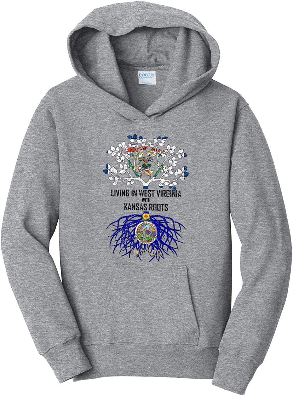 Tenacitee Girls Living in West Virginia with Kansas Roots Hooded Sweatshirt