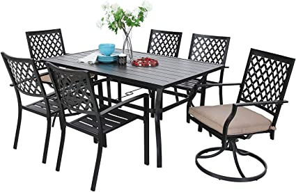 Amazon Com Mf Outdoor Patio Dining Set 7 Pieces 2 Swivel Chairs 4 Metal Chairs 1 Patio Dining Table With Umbrella Hole 6 Person For Lawn Garden Furniture Set Metal Frame Black Garden Outdoor