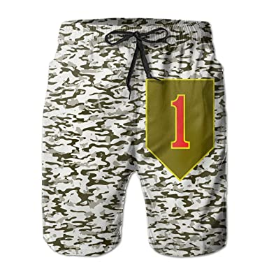 1st Infantry Division Mens Quick Dry Swim Trunks Beach Shorts