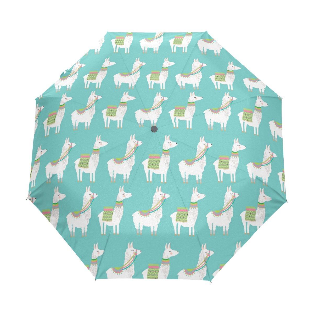 LAVOVO Cute Llama Pattern Umbrella Double Sided Canopy Auto Open Close Foldable Travel Rain Umbrellas B077C7M5SQ