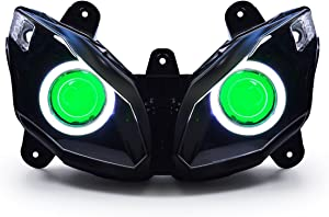 KT LED Angel Eye Headlight Assembly for Kawasaki Ninja 650 2012-2016 Green Demon Eye
