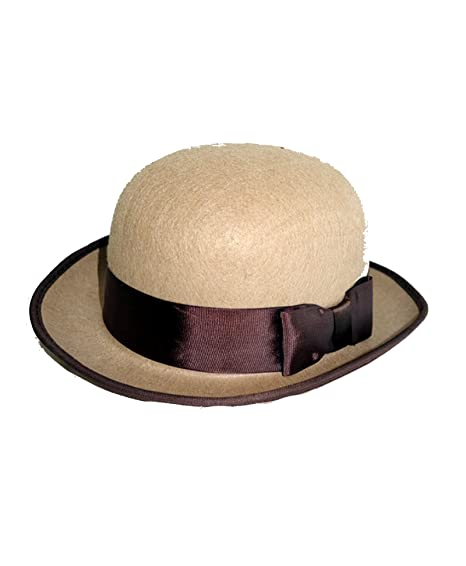 Amazon.com  J27095 Tan Felt Bowler Hat With Brown Band  Clothing 9a1f59ff936