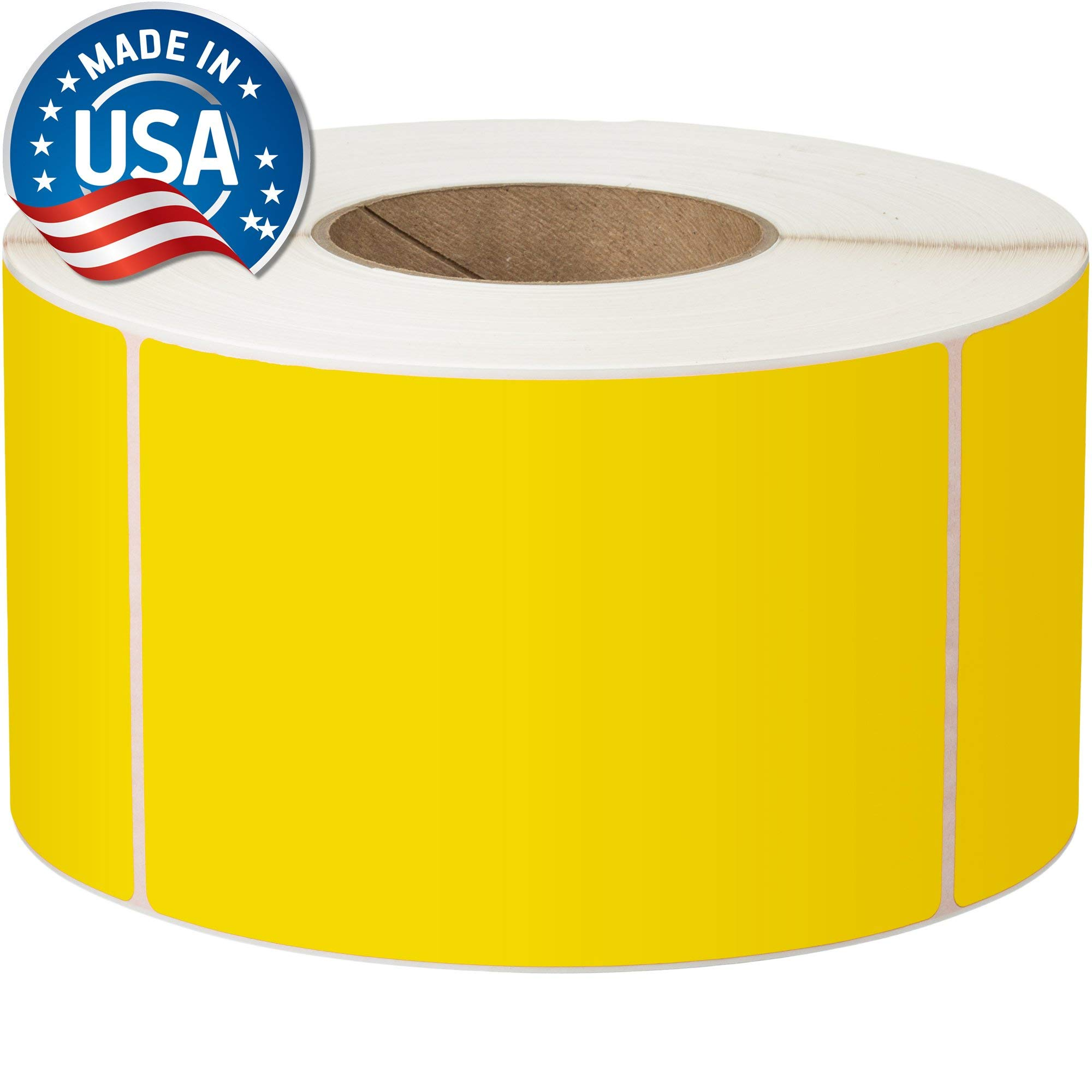 Direct Thermal Labels - 4'' x 6'' - Yellow - 3'' Core - Works with Zebra Thermal Desktop Printers, Datamax, Sato, Intermec and Honeywell Printers - Made in USA by Labels for Us