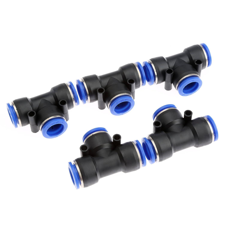 5 pcs T-Verbinder PE16 Pneumatische Anschl/üsse Luft 3 Wege Quick Fittings Stecker Steckverbindung Druckanschluss 16mm Schlauch