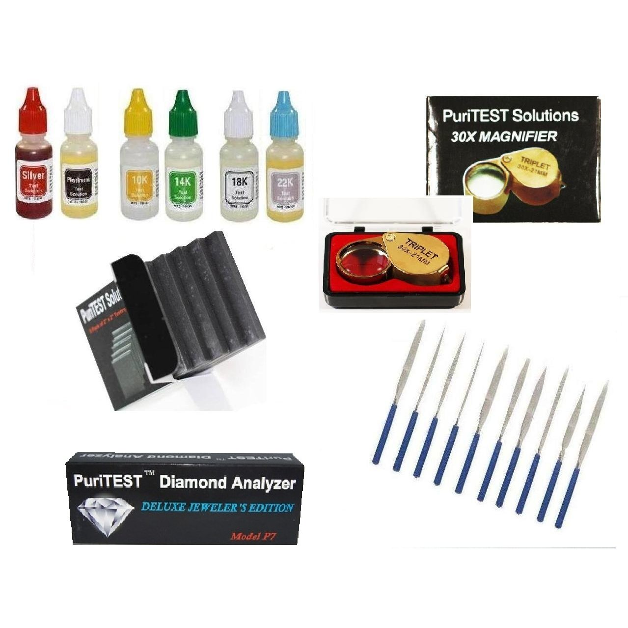 PuriTEST Deluxe Jeweler's Hand Tool Pack- Diamond Tester, Stones, Files, Precious Metal Acid Test, Loupe and More! by PuriTEST (Image #1)
