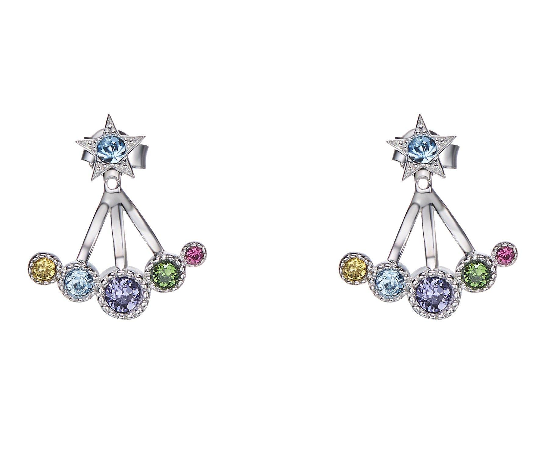 Vogzone Crystal Ear Jacket Earrings for Women Girls 925 Sterling Silver Back Ear Cuffs Stud Earrings