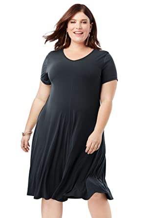 8a4b509915bab Roamans Women's Plus Size Swing Drape Dress at Amazon Women's ...