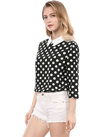 d2ab461d3eaea7 Allegra K Women 3/4 Sleeves Contrast Peter Pan Collar Polka Dots Blouse  Black XS