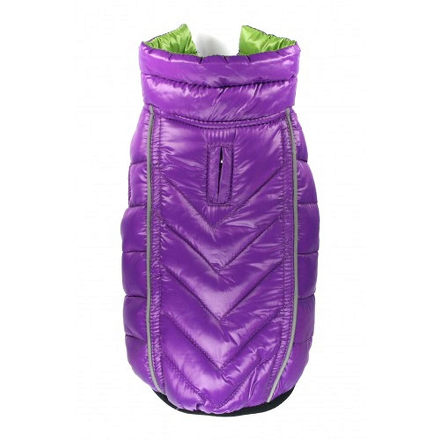 Green Purple S Green Purple S Hip Doggie Featherlite Reversible Touch Fastening Puffer Dog Jacket (S) (Green Purple)
