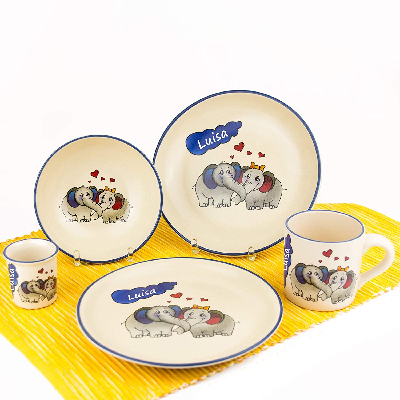 Kindergeschirr Set mit Wunschname 4-tlg Giraffe Keramik Teller Müslischale Tasse