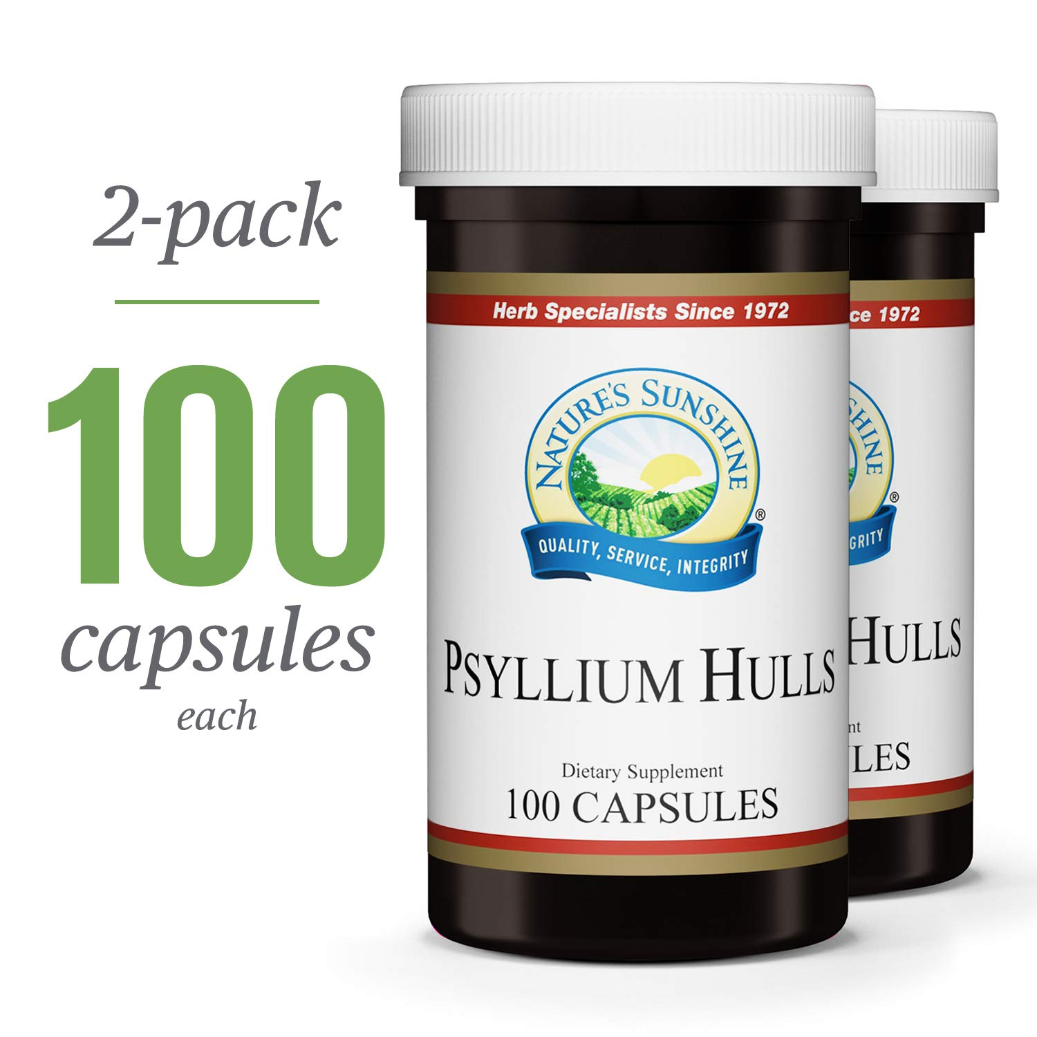 Nature's Sunshine Psyllium Hull, 100 Capsules, 2 Pack | Organic Intestinal System Support is High in Soluble Fiber Which Facilitates The Process of Waste Elimination