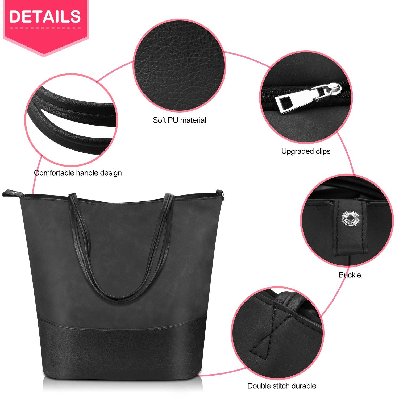 6a594cdd9fc Proking Women Handbags Ladies Fashion Shopping Bag Tote Bags for Women Top  Handle Bags Soft PU Leather Shoulder Bags Women - Black(Size L)   Amazon.co.uk  ...