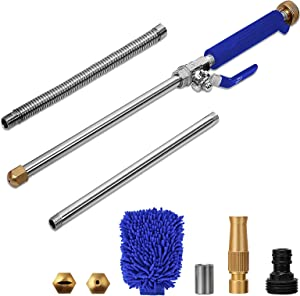 High Pressure Power Washer Wand, Extendable Hydro Jet Water Hose Nozzle Watering Sprayer, Garden Watering Wand for Patio Car Pet Window Gutter Cleaning Tool (Blue)