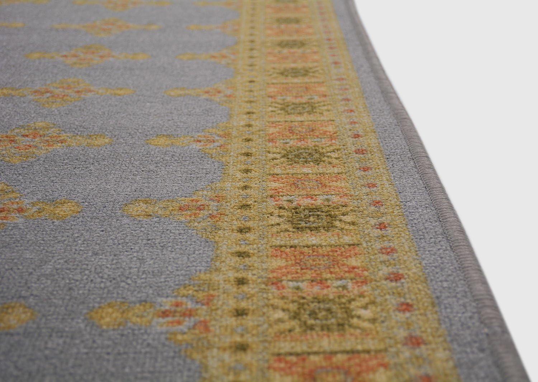 Traditional Kilim Design Runner Rug For Kitchen Hallway Laundry Room Entry Slip Skid Resistant Rubber Backing Grey, 2x7