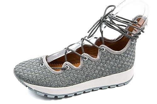 BM3-079 - Mocasines de Lona para Mujer Plateado Plata 37 EU, Color Plateado, Talla 37 EU: Amazon.es: Zapatos y complementos