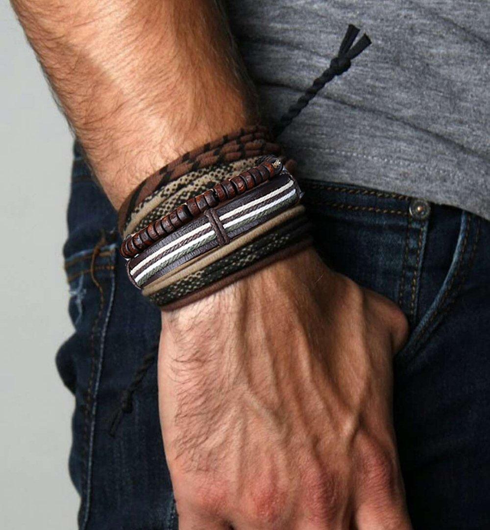 LOLIAS 24 Pcs Woven Leather Bracelet for Men Women Cool Leather Wrist Cuff Bracelets Adjustable by LOLIAS (Image #3)