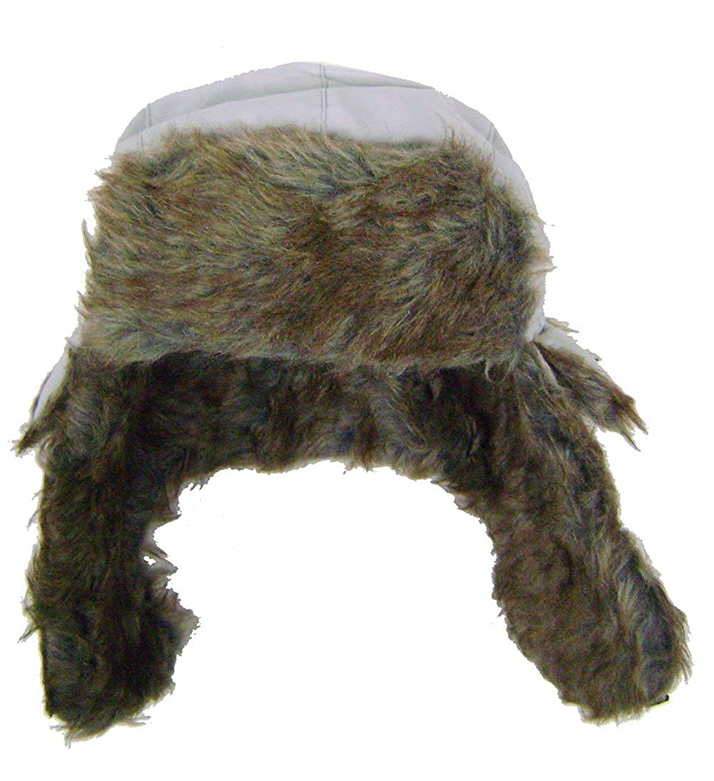 Modestone Warm Trapper Bomber Hat Faux Fur Trim o//s Grey