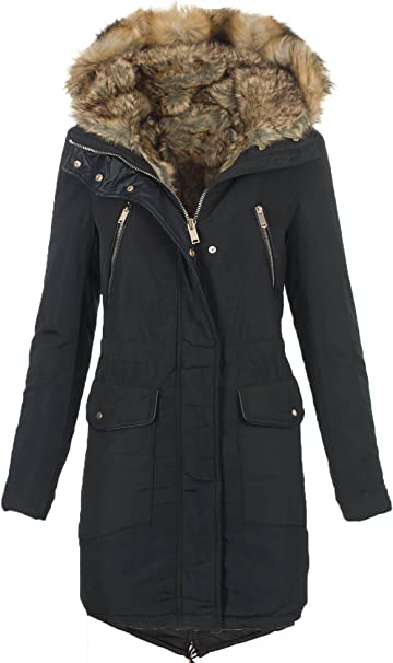 Golden Brands Selection Warme Damen Winter Jacke Winterjacke Parka Mantel Teddyfell gefüttert B430
