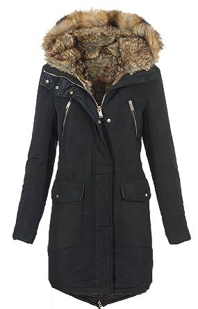 11b2655f8036e5 Golden Brands Selection Warme Damen Winter Jacke Winterjacke Parka Mantel  Teddyfell gefüttert B430 [B430-