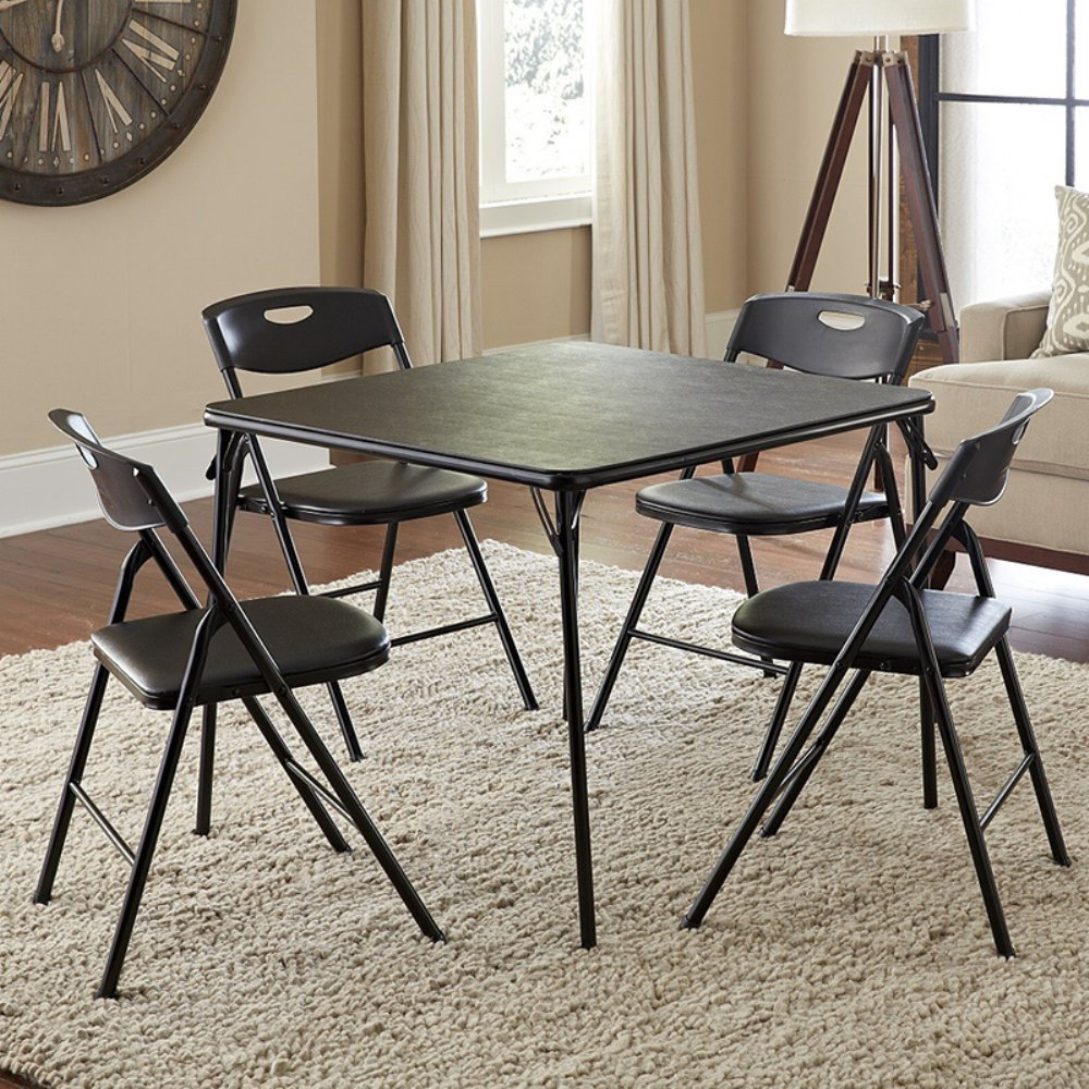 Black 5 Piece Folding Card Table Chairs Set Extra Seating Comfort Padded Seats