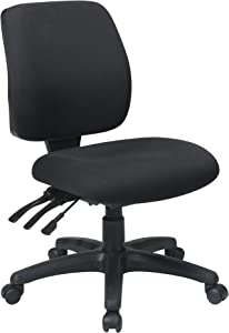 Office Star Mid Back Dual Function Ergonomic Chair with Ratchet Back Height Adjustment without Arms, Black
