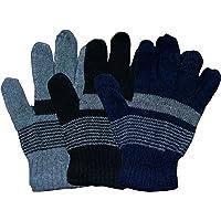 KIFAYATI BAZAR Striped Winter Women's Gloves Pack of 3 (Multicoloured)