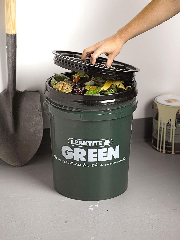 Indoor Big Green Compost Bucket, Bin, Holds 5 Gallons