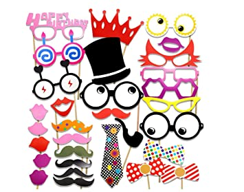 Freessom Photobooth Anniversaire Drole Kit De 31pcs Happy Birthday