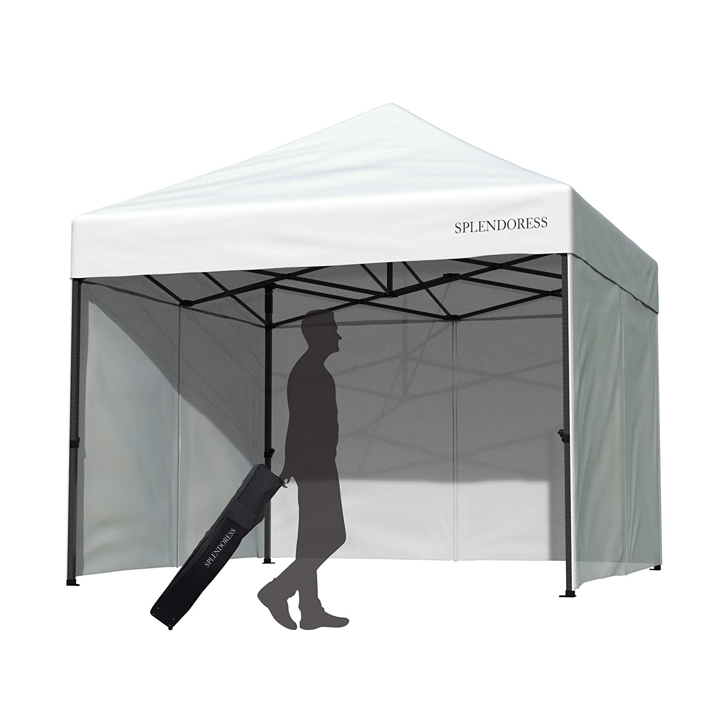 Splendoress Instant Pop Up Canopy Tent 10×10 – Portable Waterproof White Canopy – Heavy Duty Folding 10 x 10 Canopy Tent – 4 Removable Zipper End Side Walls and Roller Bag