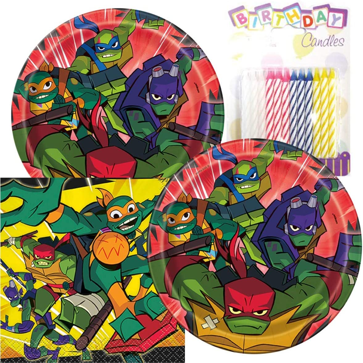 "Rise of The Teenage Mutant Ninja Turtles Birthday Party Pack – Includes 7"" Paper Plates & Beverage Napkins Plus 24 Birthday Candles – Serves 16"