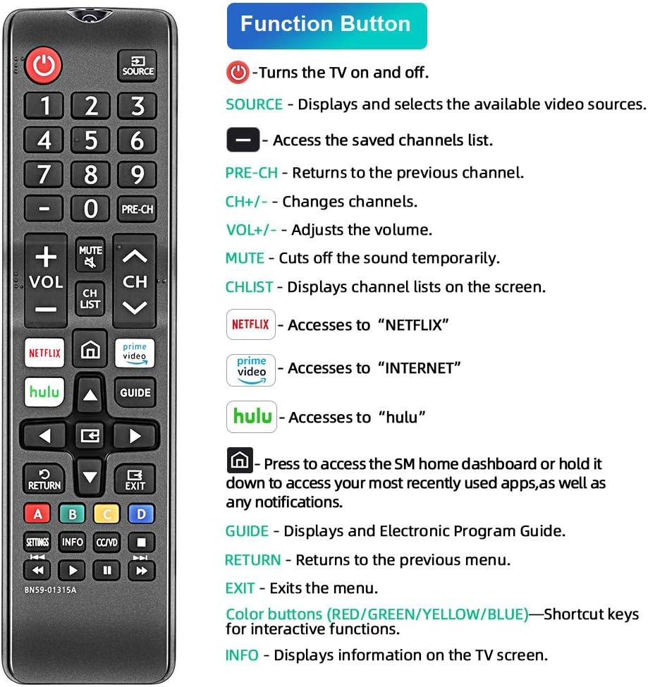 BN59-01310A BN59-01310B Replaced Remote fit for Samsung RU7100 Series 4K UHD Smart TV UN75RU7100 UN65RU7100 UN58RU7100 UN55RU7100 UN50RU7100 UN49RU7100 UN43RU7100 UN43RU7100FXZC UN43RU7100GXZD UN49RU7100GXZD UN50RU7100FXZC UN50RU7100GXZD UN55RU7100FXZC UN5