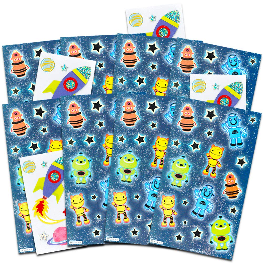 Space and Aliens Space and Robot Stickers Party Favors Pack for Kids Toddlers ~ Over 175 Stickers Featuring Robots Space Party Supplies