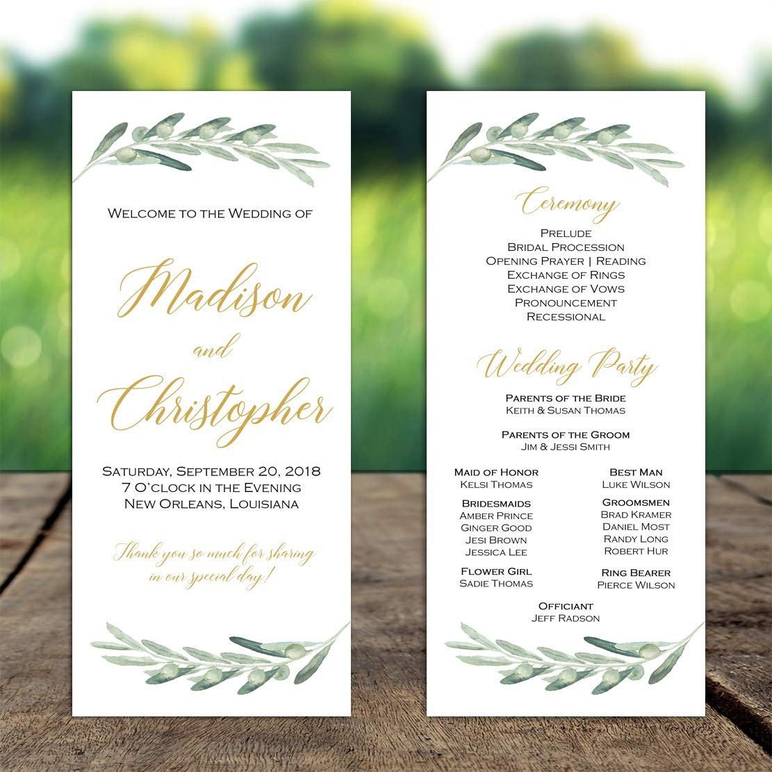 Amazon.com: Wedding Program Olive Branches with ANY Wording