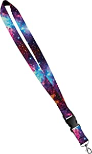 Print Lanyard- Satin Key Lanyard with Side Release Buckle and Snap, ID Holder -  3/4 Inch, Universal