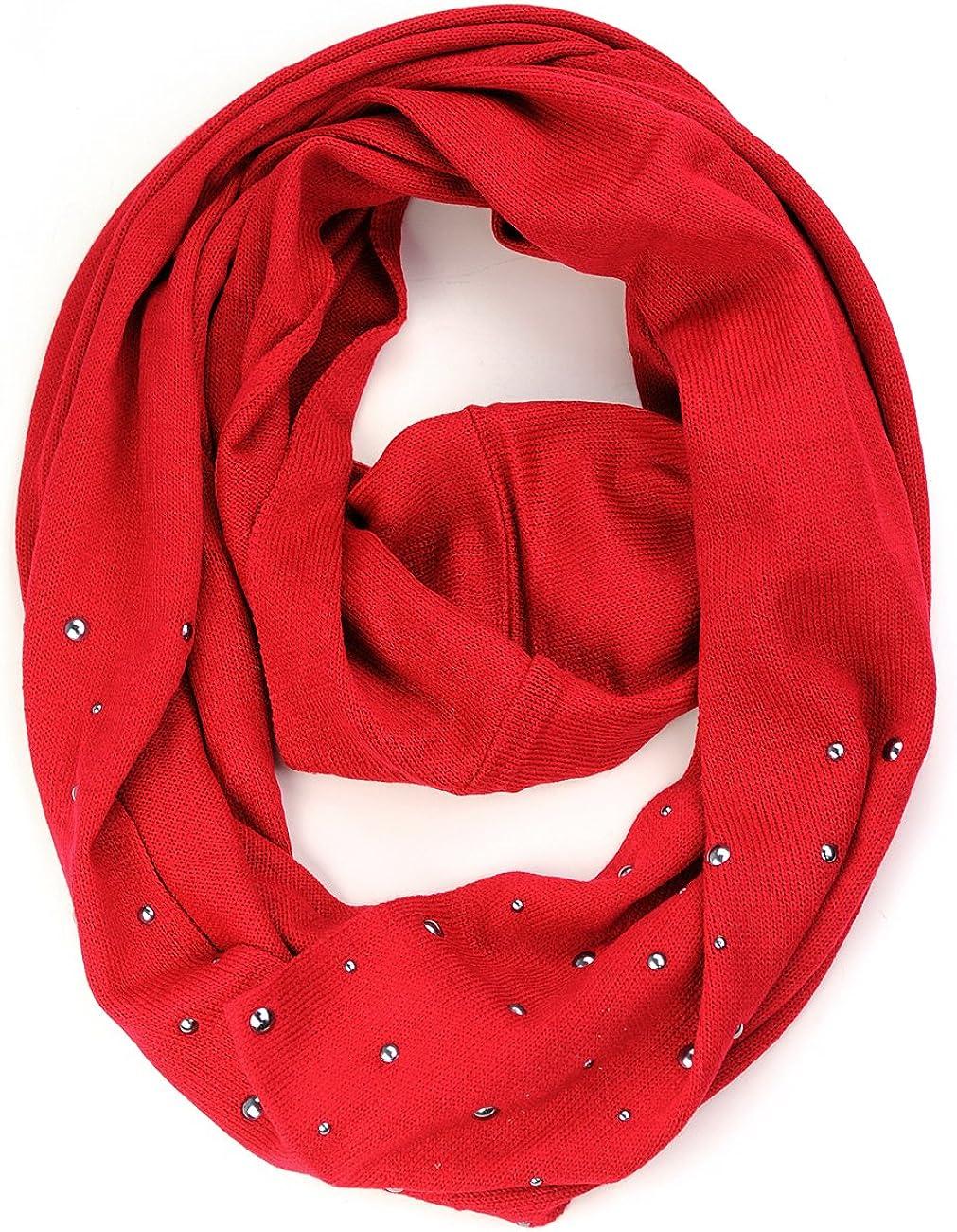 NYFASHION101® Women/'s Round Studs Soft Warm Acrylic Infinity Loop Scarf NEW