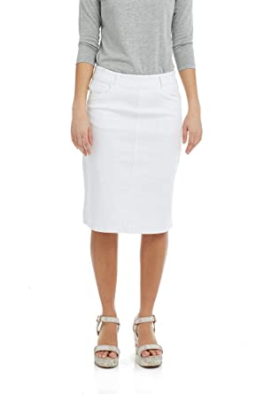 high fashion classic shoes uk availability Esteez Women's Jean Skirt - Modest - Straight Cut Knee Length - Stretch  Denim - Manhattan