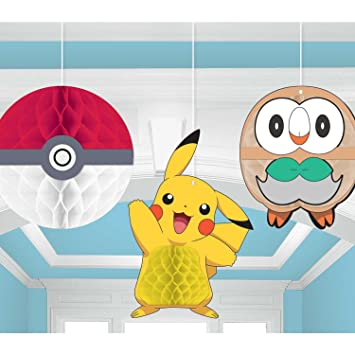 Amazon.com: Pokemon Core Pikachu Honeycomb Decoraciones – 3 ...