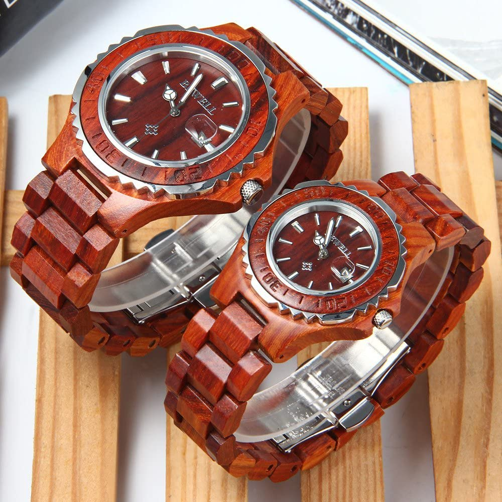 Bewell ZS-100B Couple Wooden Quartz Watch Men and Women Handmade Lightweight Date Display Fashion Watches Red Sandalwood