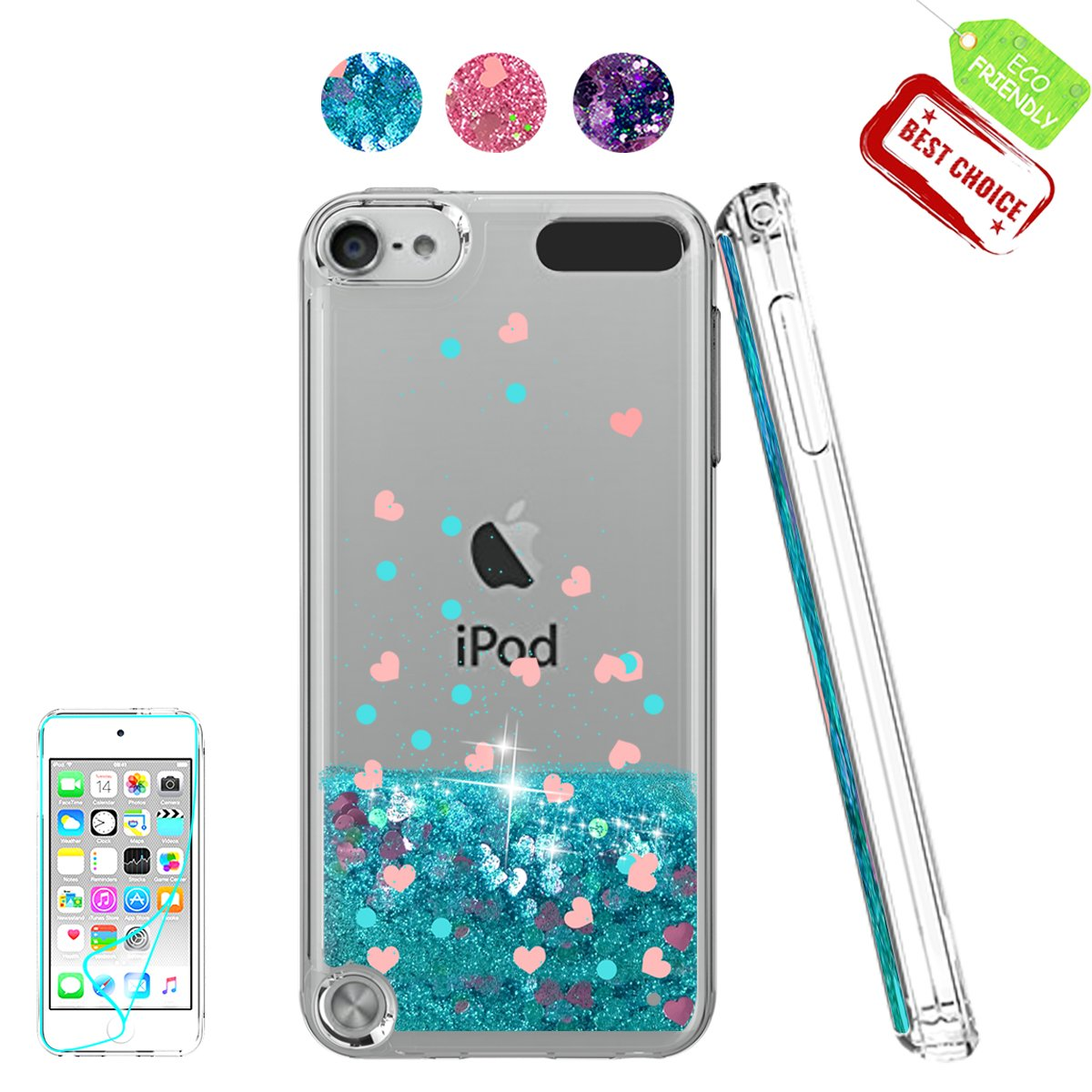 iPod Touch 7 Case, iPod Touch 6 Case, iPod Touch 5 Case with HD Screen Protector for Girls, Atump Glitter Liquid Clear Bling TPU Phone Case for Apple ...