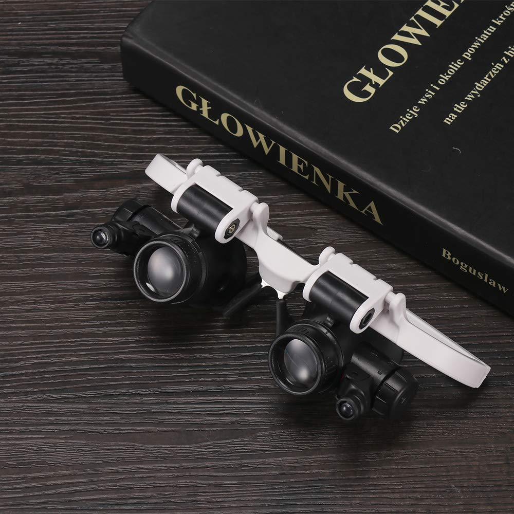 ONEVER Lente per occhiali Lente di ingrandimento Lente di ingrandimento con luci a LED 8X 15X 23X Lente dingrandimento illuminata Lampada di riparazione dellorologio