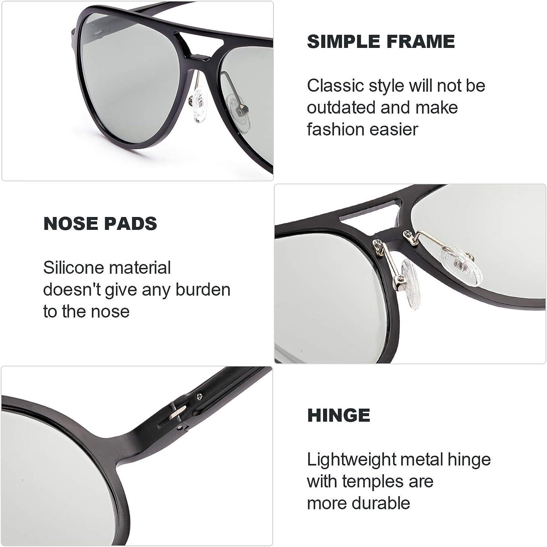 Aviador Metal Marco Cl/ásica Gafas 100/% Protecci/ón UVA UVB FIMILU Polarizadas Gafas de Sol Fotocromaticas Hombre