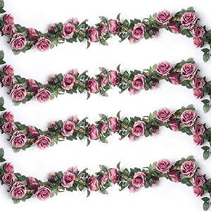YILIYAJIA 4PCS(28.13 FT) Artificial Rose Vines Fake Silk Flowers Rose Garlands Hanging Rose Ivy Plants for Wedding Home Office Arch Arrangement Decoration(Rose Red)