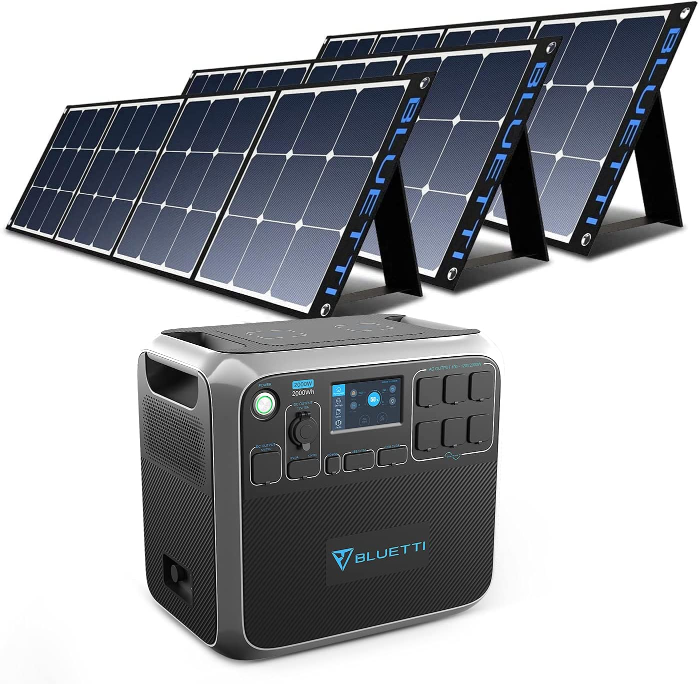 BLUETTI AC200P Portable Power Station with Solar Panel Included 2000W Solar Generator Kit with 3pcs 200W Foldable Solar Panel, 6 120V AC Outlet Lithium Battery Backup for Home Use Outdoor Camping RV