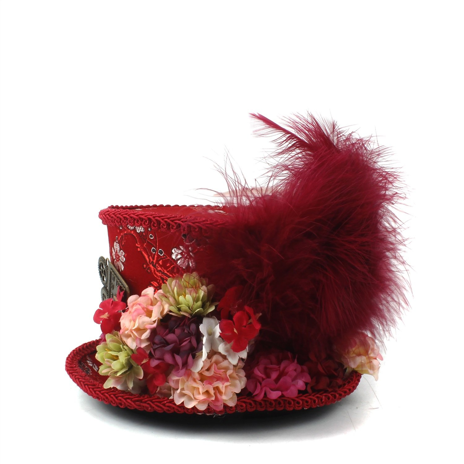 LL Women;s Red Mini Top Hat, Antique Red and Ivory Tea Cup Hat Mad Hatter Hat, Tea Hat,Mad Hatter Tea Party (Color : Red, Size : 25-30cm) by LL (Image #2)