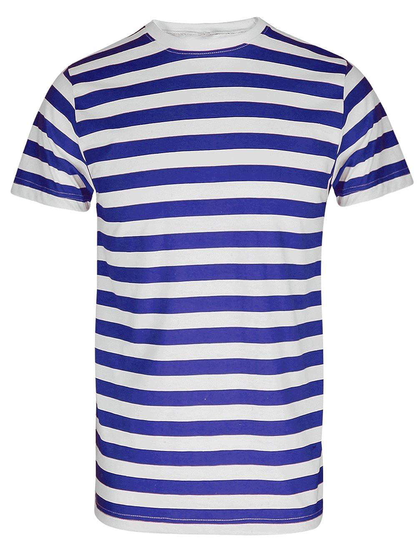 90611195ede056 MEN S BOYS RED   WHITE STRIPED STRIPE T-SHIRT BLUE BLACK STRIPE TOP   TEES   Amazon.co.uk  Clothing